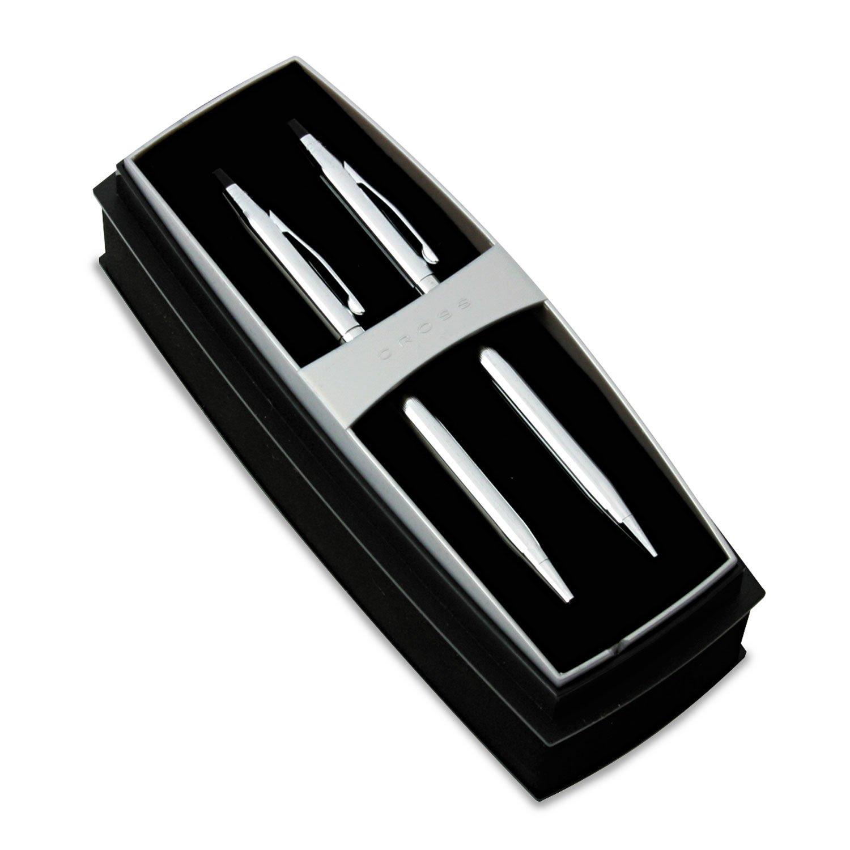 Cross 350105 Classic Century Ballpoint Pen & Pencil Set, Chrome/Black Accent