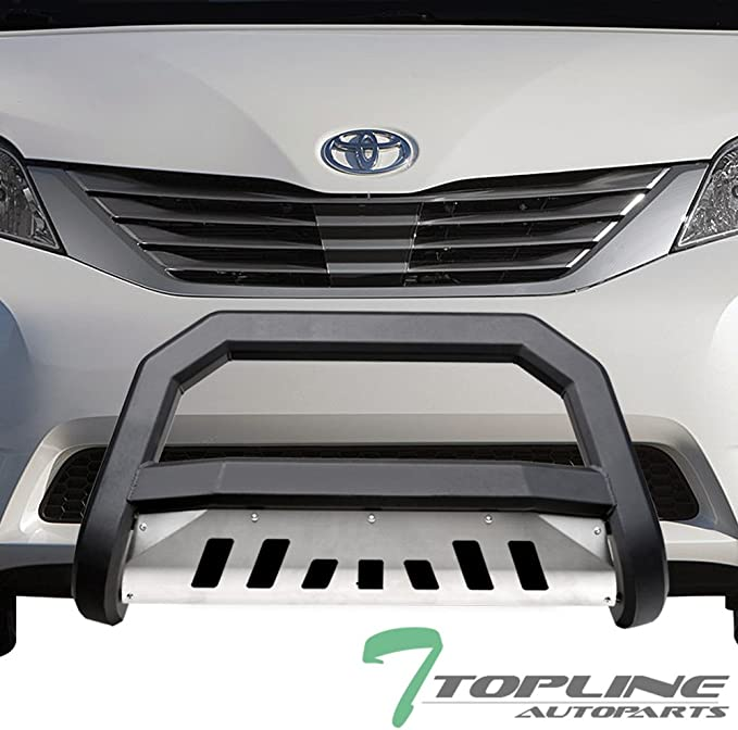 Topline Autopart Matte Black AVT Style Bull Bar Brush Push Front Bumper Grill Grille Guard With Aluminum Skid Plate For 11-19 Toyota Sienna