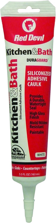 Red Devil 0405 DuraGuard Kitchen and Bath Siliconized Acrylic Caulk, 5.5 Oz, Squeeze Tube, Paste, White