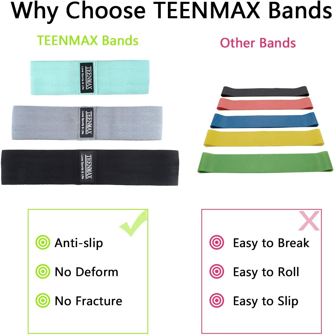 Anti Slip Fabric Exercise Workout Hip Resistance Loop Band for Women Men Non Slip Elastic Booty Bands TEENMAX Resistance Bands for Legs and Butt Exercise Bands