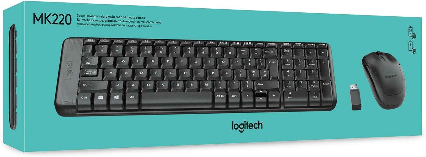 Logitech MK220 Combo Teclado y Ratón Inalámbrico para Windows, 2.4 GHz con Receptor USB Unifying, Ratón Inalámbrico, Batería de 24 Meses, PC/Portátil, ...