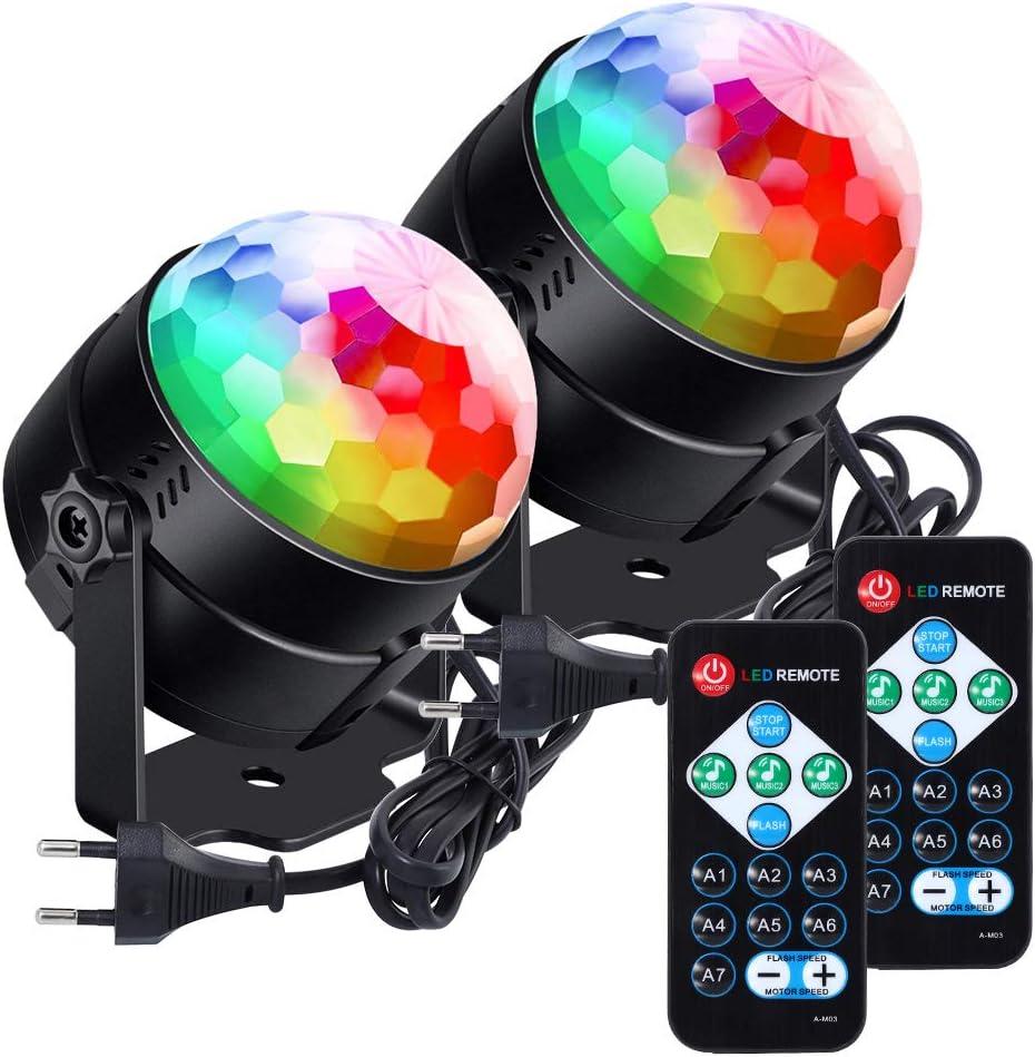 Lunsy Bola de discoteca, RGB, LED, control de música, lámpara de fiesta, efectos de luz, luz de discoteca giratoria 360°, con mando a distancia, para ...