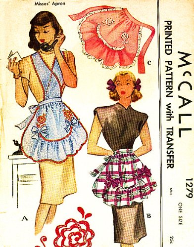 McCalls 1279 Misses' Cross Over Cobbler Apron with Transfer for Embroidery Sewing Pattern Vintage 1946