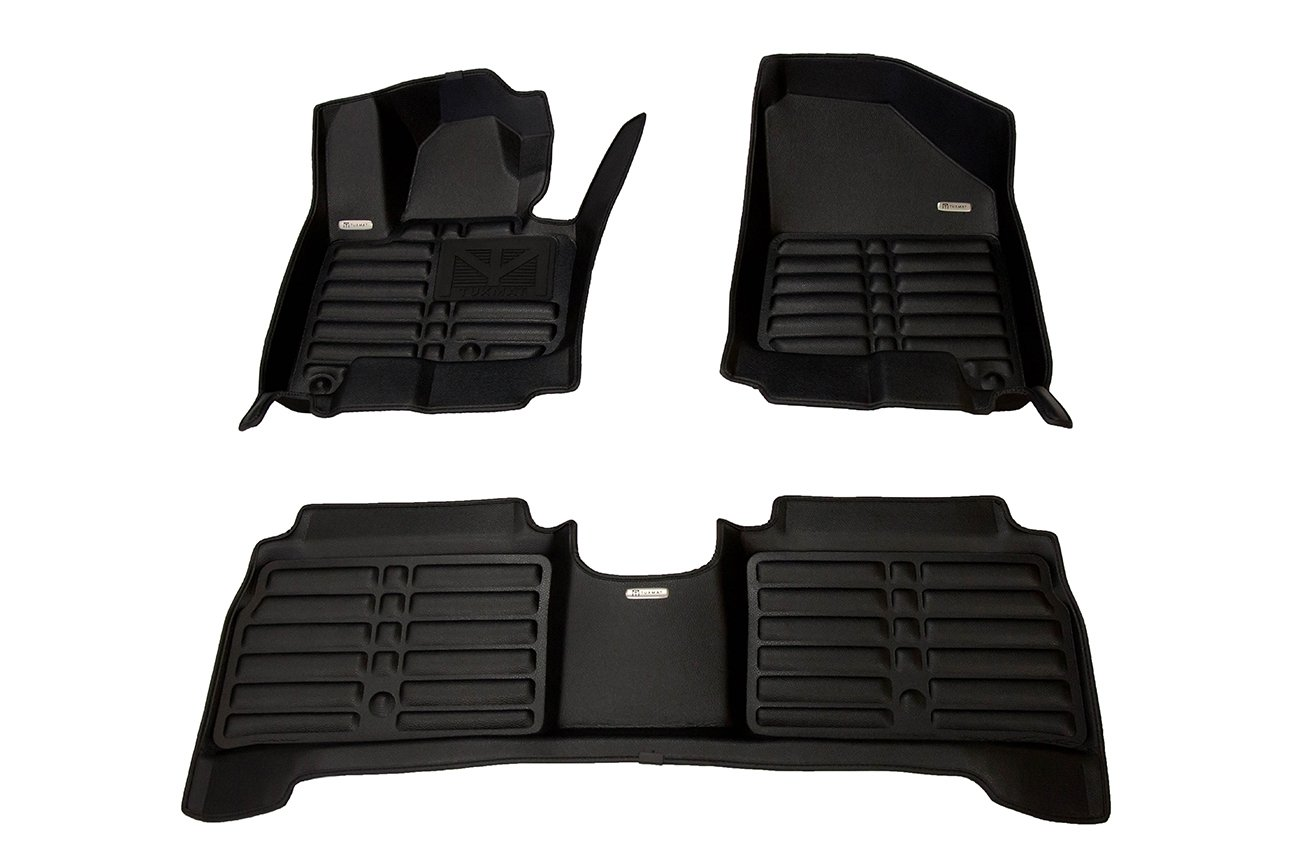 TuxMat Custom Car Floor Mats for Kia Soul EV 2015-2019 Models/- Laser Measured Waterproof Also Look Great in the Summer./The Best/Kia Soul EV Accessory. All Weather Full Set - Black The Ultimate Winter Mats Largest Coverage