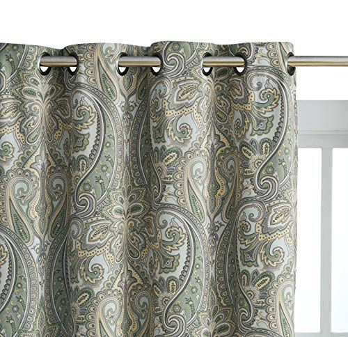 HLC.ME Paris Paisley Damask Thermal Blackout Grommet Window Curtain Panels - Pair - 84