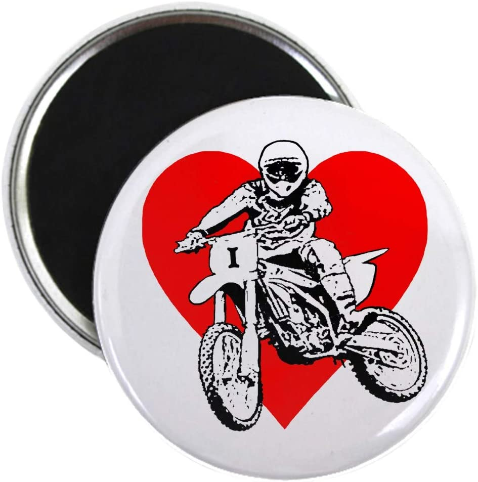 "CafePress I Love Dirt Biking With A Red Heart Magnet 2.25"" Round Magnet, Refrigerator Magnet, Button Magnet Style"