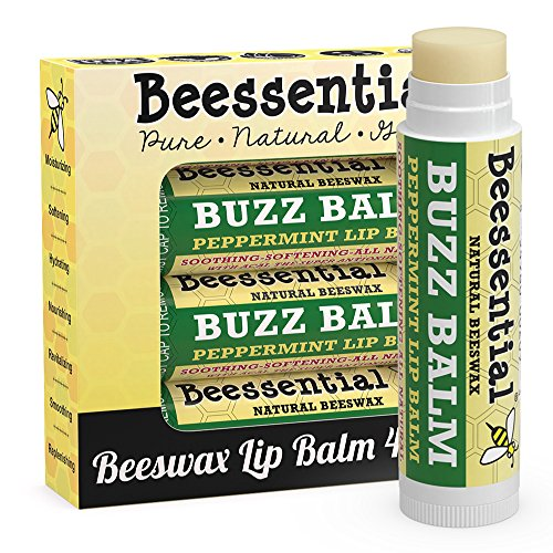 Beessential All Natural Peppermint Lip Balm 3 Pack with Moisturizing Beeswax, Shea & Cupuacu Butter, Coconut for Dry and Chapped Lips - For Adults and Kids - Made in the USA