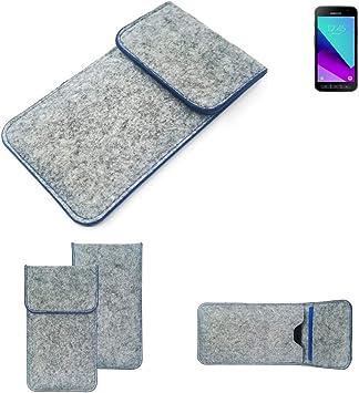 K-S-Trade Funda Protectora De Fieltro Compatible con Samsung Galaxy Xcover 4 Estuche Bolsa Bolsillo Carcasa Cubierta Gris Claro Borde Azul: Amazon.es: Electrónica