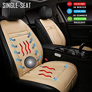 Fochutech Car seat Heat Pad, 12V DC Seat Heater Seat Warmers - Seat Cushion with Cooling, Heating and Massage Functions, Universal Heated Cushion for Home, Car and Office (Single-seated, Beige)