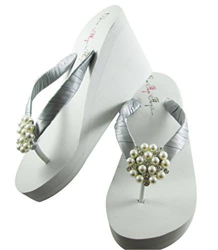 7df7f60d1 Amazon.com  Silver and White or Ivory Pearl Bling Bridal Flip Flops   Handmade