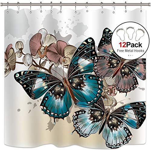 (Riyidecor Butterfly Shower Curtain 12 Pack Metal Hooks Colorful Floral Painting Art with Butterflies Skewer Spring Insects Vintage Decor Bathroom Fabric Set Polyester Waterproof 72x72 Inch)