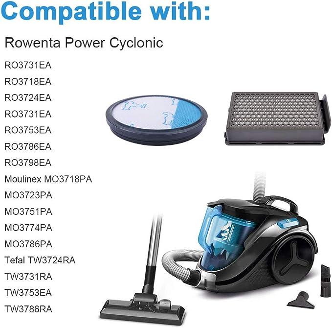 KEEPOW 2 Filtros HEPA y Espuma para Aspiradoras Rowenta ZR005901 Compact Power Cyclonic RO3753EA, O3718EA, RO3724EA, RO3731EA, RO3753EA, RO3786EA, RO3798EA Tefal/Moulinex: Amazon.es: Hogar