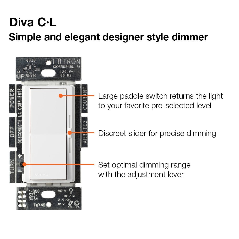 lutron diva c l dimmer switch for dimmable led  halogen and incandescent bulbs  791380894272