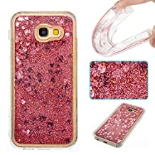 Galaxy A5 (2017) Case,Gift_Source Fashion Creative Bling Glitter Sparkle Liquid Quicksand Flowing Floating Case Rubber TPU Gel Cover Soft Bumper Cases For Samsung Galaxy A5 2017 [Rose Gold Heart]