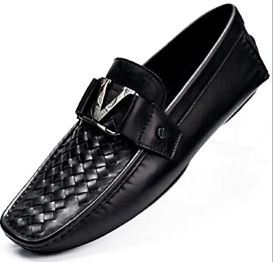 Fashion Men's Weave Leather Shoes Letter V Buckle Moccasin Comfort Slip-On Driving Shoes Loafers