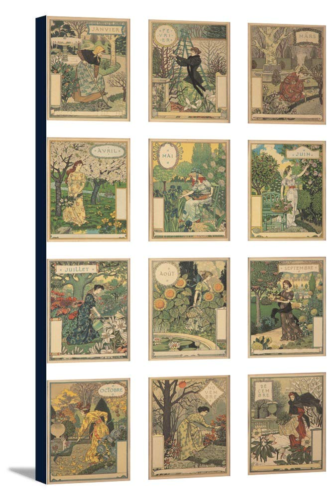 Les Mois – DOUZEコンポジションヴィンテージポスター(アーティスト: Grasset , Eugene )フランスC。1896 21 7/8 x 36 Gallery Canvas LANT-3P-SC-64865-24x36 B0184ATMG0  21 7/8 x 36 Gallery Canvas