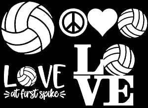 CCDecals Volleyball Decals 4 Pack: Volleyball, Peace Love Volleyball, Love (Volleyball White)