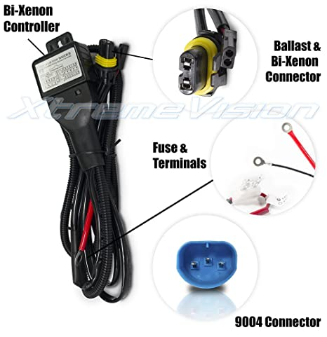 XtremeVision 9004 Hi/Lo Bi-Xenon Controller HID Battery Relay Wiring on