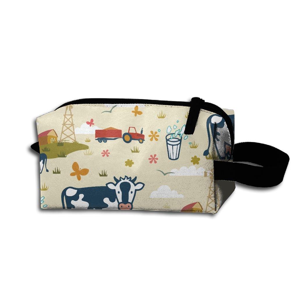delicate Wnihao Farm Cows Portable Make-up Receive Bag Hand Cosmetic ...