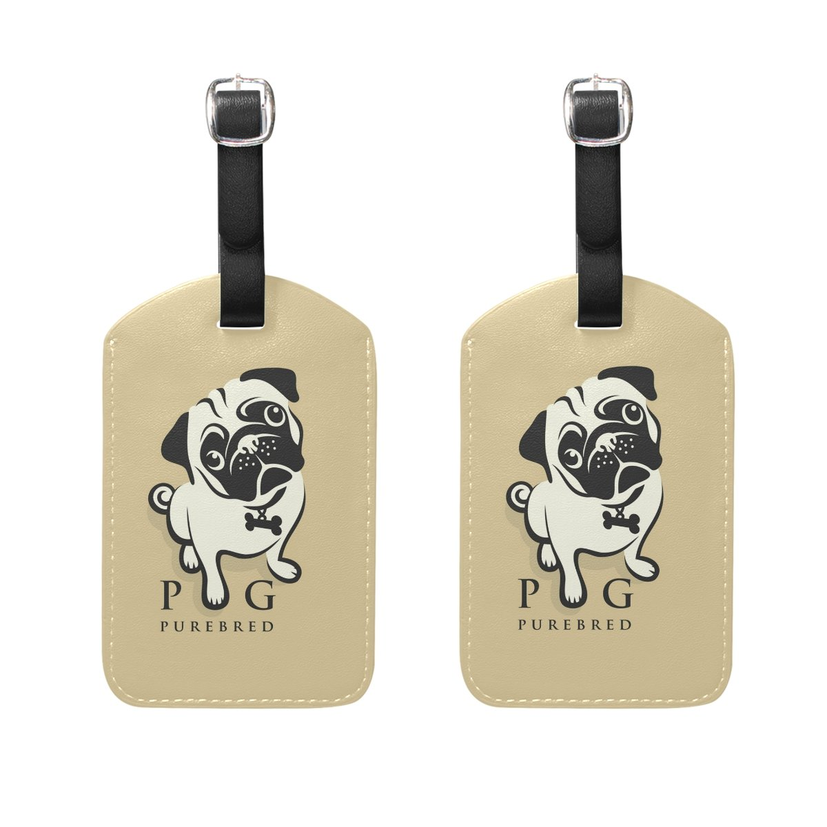 COOSUN Pug Dog Luggage Tags Travel Labels Tag Name Card Holder for Baggage Suitcase Bag Backpacks, 2 PCS