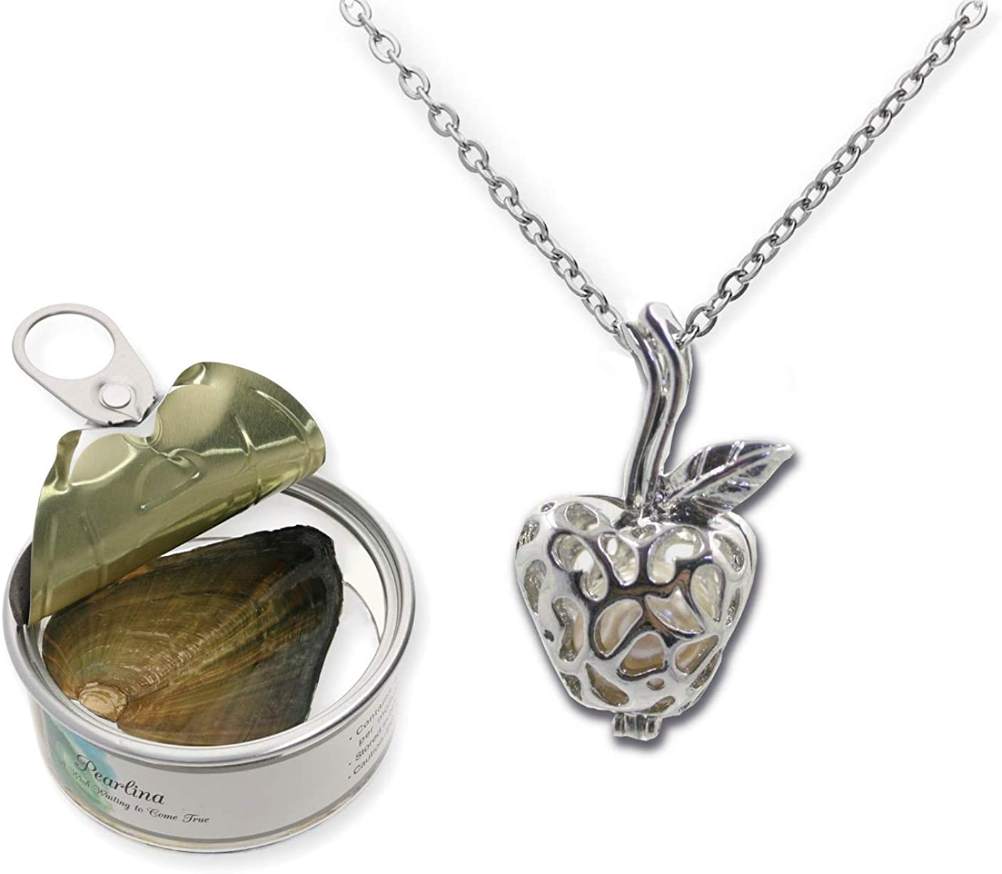 Pearlina Teachers Apple Necklace Cultured Pearl in Oyster Set Silver-tone Cage W/Stainless Steel Chain 18""