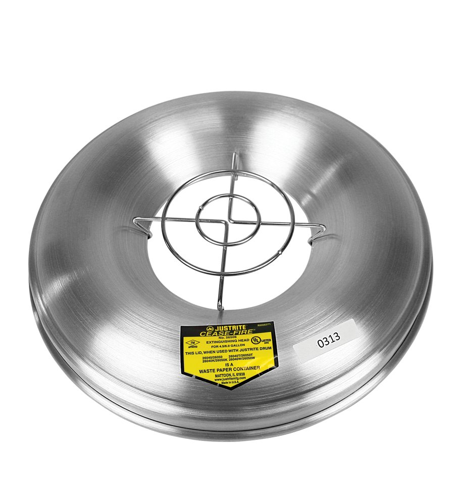 Justrite 26265 Cease-Fire Aluminum Head and Grill Guard, 12-1/8'' OD, For Ash and Butt Receptacle
