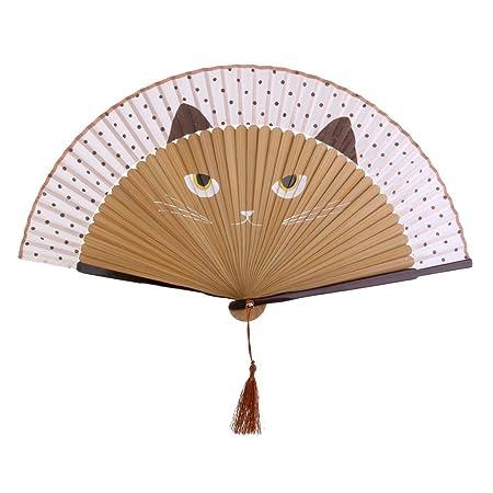 Eventail Motif De Chat Kawaii Decoration Cadeau Brun