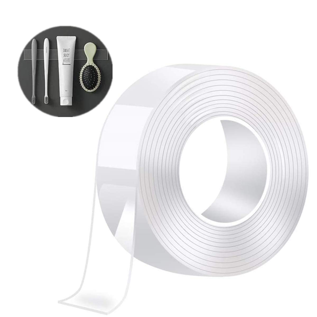 Multipurpose Removable Traceless Adhesive Nano Wall Tape NANOUK Double Sided Tape Washable Strong Sticky Mounting Wall Tape Strips Transparent Tape for Fix Carpet Photo Poster 0.4x10FT