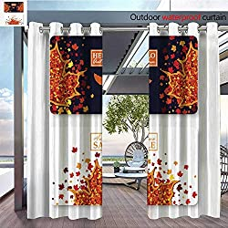 BlountDecor Patio Curtains Autumn Sale and Hello Autumn Gift Card Layout templates Shopping Certificate vec Outdoor Curtain for Patio,Outdoor Patio Curtains W84 x L84/Pair