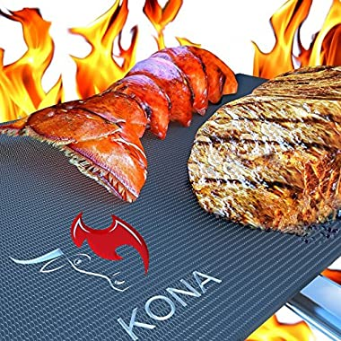Kona Best BBQ Grill Mat(TM) - Heavy Duty Non-Stick 16 x 13 Inch (Set of 2)