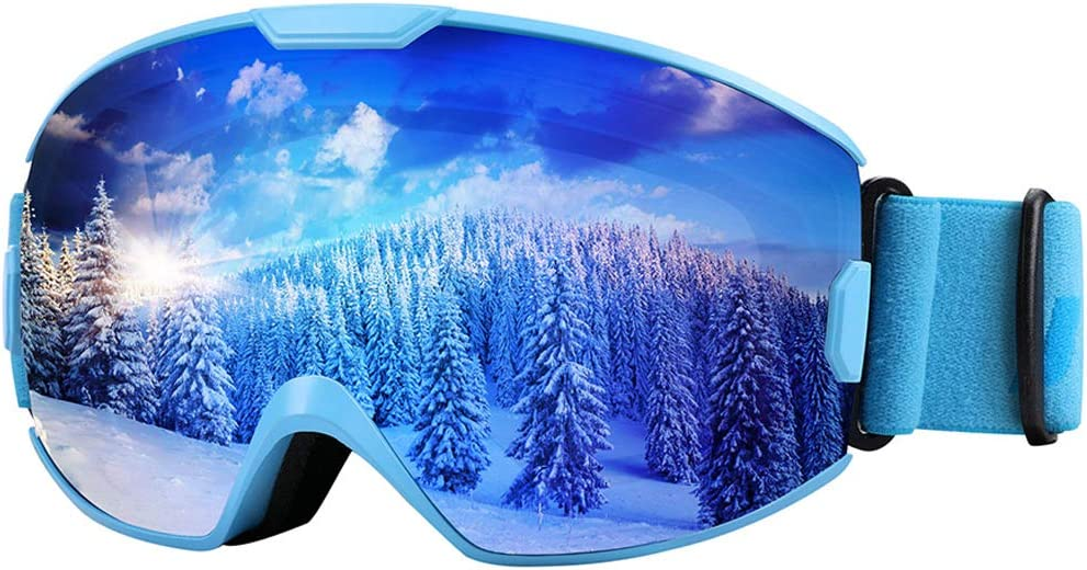 KUYOU Ski Goggles OTG Snow Goggles for Kids Adults Snowboard Goggles Anti-Fog 100 UV Protection