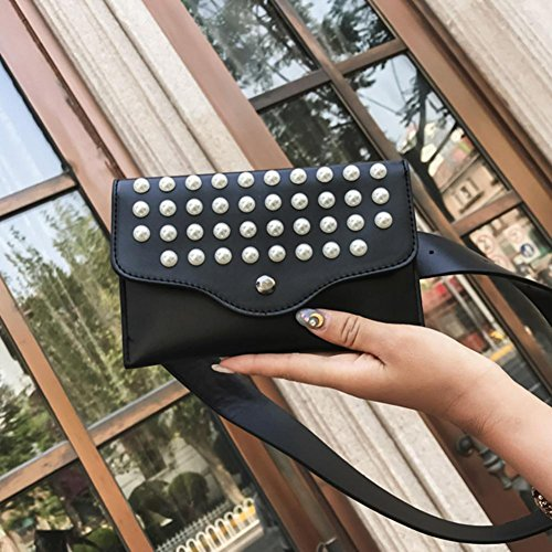 Bag Leather Pearls Women Bags Pack Shoulder Black PU Fanny Waist Domybest Rivets Mini Belt 7xwqppS