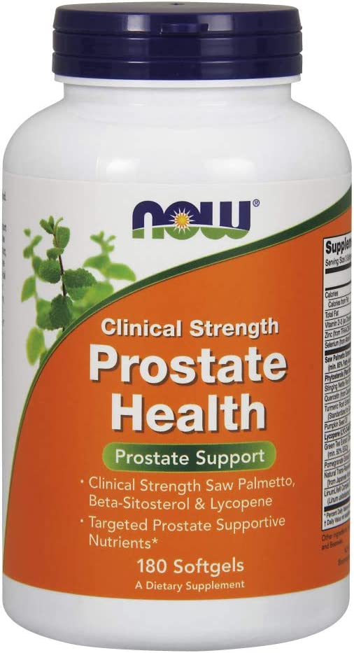 NOW Supplements, Prostate Health, Clinical Strength Saw Palmetto, Beta-Sitosterol Lycopene, 180 Softgels
