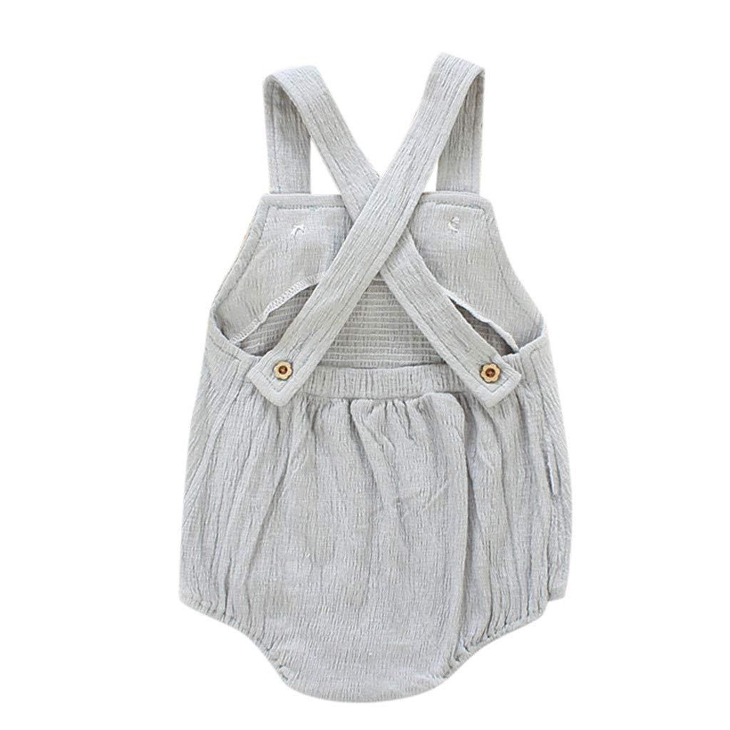 Toddler Girls Summer Romper Fartido Fashion Bodysuit Sleeveless Sling Strap Pocket Harlan Outfits
