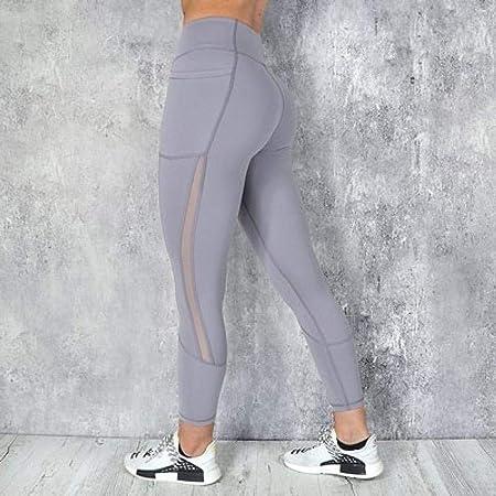B/H Chándal de algodón elástico para Mujer,Pantalones de Yoga Deportivos sólidos de Bolsillo de Cintura Alta,Mallas Deportivas de Yoga Leggings de Yoga-Gray_S,Polainas de Yoga Ropa de Gimnasia: Amazon.es: Hogar