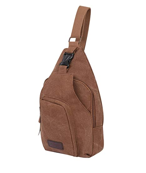 eb777b03f12 Amazon.com   Men s Sling Bag Canvas Multipurpose Crossbody Shoulder  Backpacks Tan Sling Backpacks Brown(Canvas)   Casual Daypacks