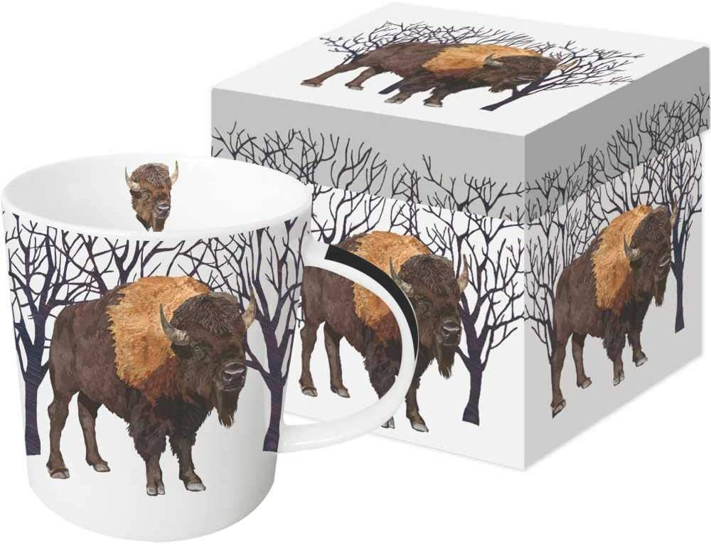 Paperproducts Design 28238 Winter Buffalo Gift Boxed Mug, 13.5 oz, Brown