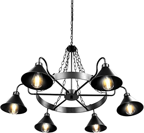 Lika 40 Farmhouse Chandelier, Industrial Rustic Pendant Lighting Fixtures 6 Lights Rudder Metal Black Chandelier for Dining Room, Kitchen Island, Farmhouse