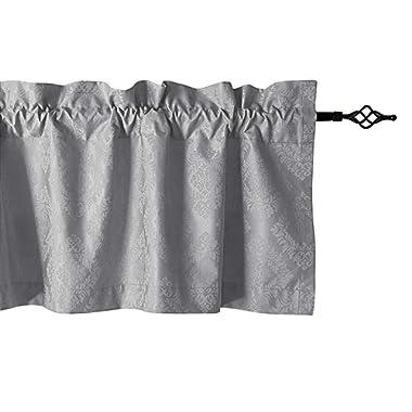 "Valea Home Grey Valances for Windows Floral Pattern Rod Pocket Kitchen Valance Curtains Baseroom Bedroom, 56"" x 19"", Light Grey"