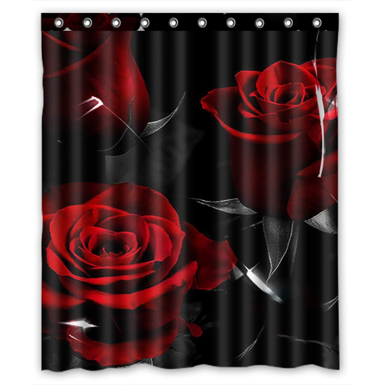 KXMDXA Glam Fire Red Rose And Black Leaves Waterproof Polyester Bath Shower Curtain Size 60x72 Inch