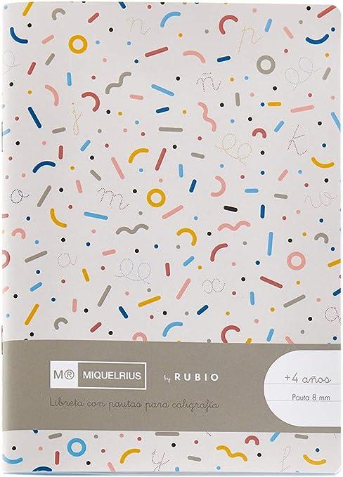 Miquelrius cuaderno con grapa By Rubio formato 4º Pauta Montesori 8 mm: Amazon.es: Oficina y papelería