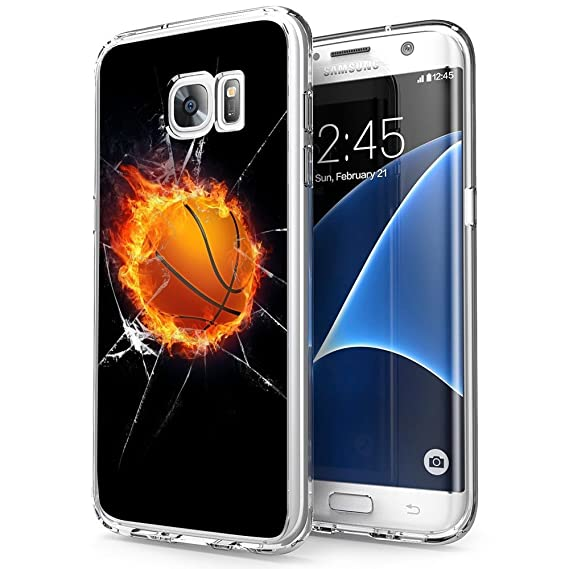 huge discount 8eda1 75d06 Amazon.com: Fire Basketball Samsung Galaxy S7 edge Case Clear, By ...