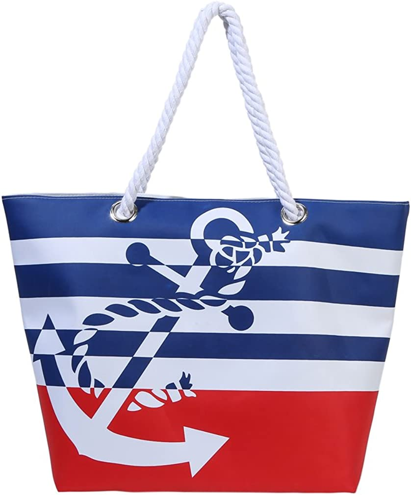 Waterproof Beach Bag Extra Large Summer Tote/Top Magnet Clasp Bag With Soft Rope Handles