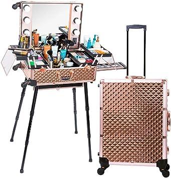 KINYNE Maquillaje para Viajes Maquillaje Estuche para Trenes con 6 Luces LED Organizador para Artículos De Tocador Estuche para Artículos De Tocador De Belleza con Divisor Ajustable/Espejo/Soporte,C: Amazon.es: Deportes y aire libre