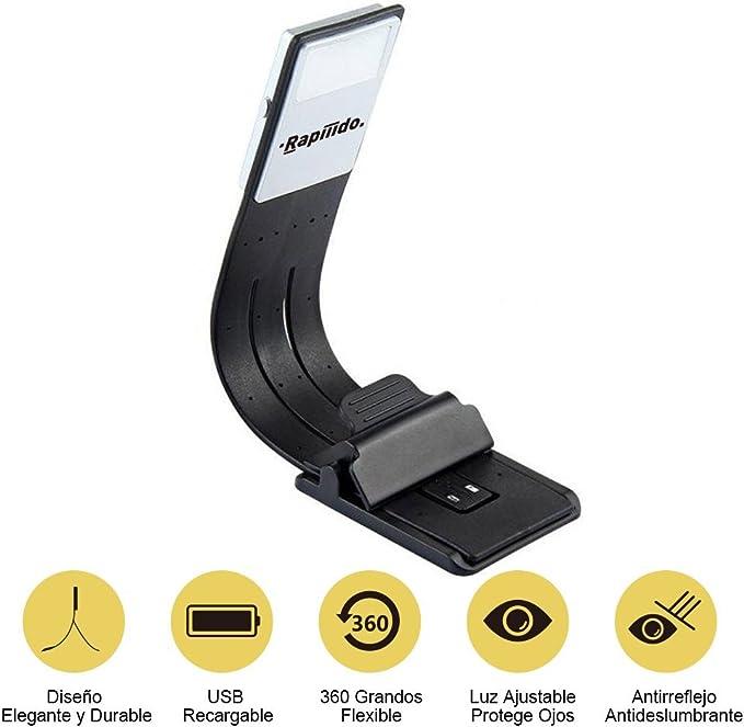 Rapiiido Luz Lectura LED Recargable USB 4 Niveles Brillo Ajustable ...