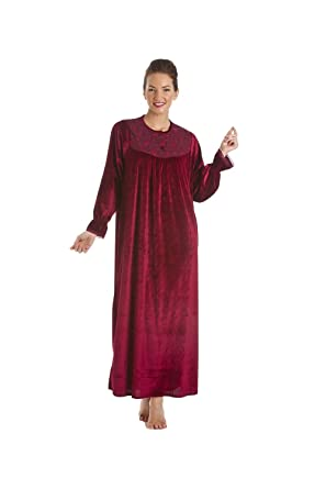 af4649cc72 Camille Womens Ladies Red Full Length Velour Nightdress RED at ...