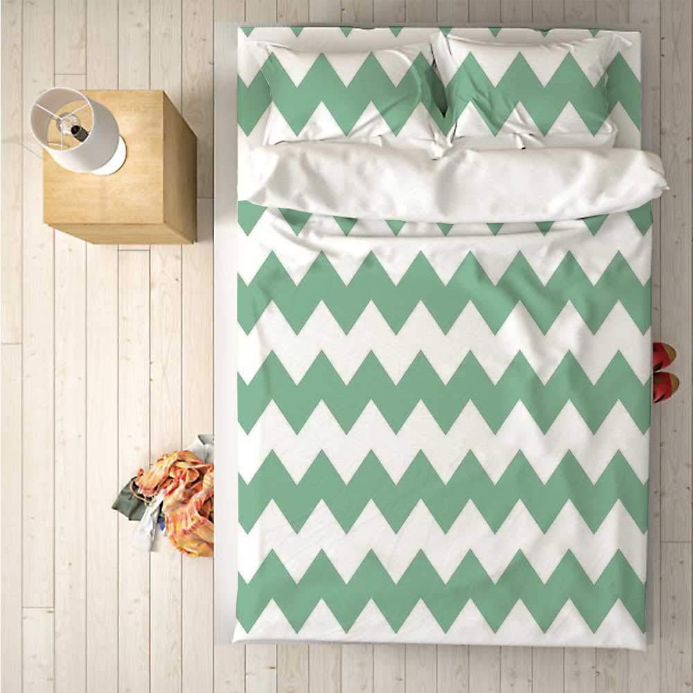 Mint Soft 4 Piece Bedding Set,Chevron Pattern Horizontal Zigzag Twisty Turns Modern Aztec Folk Inspirations for Bedroom,One Side Print : Singe
