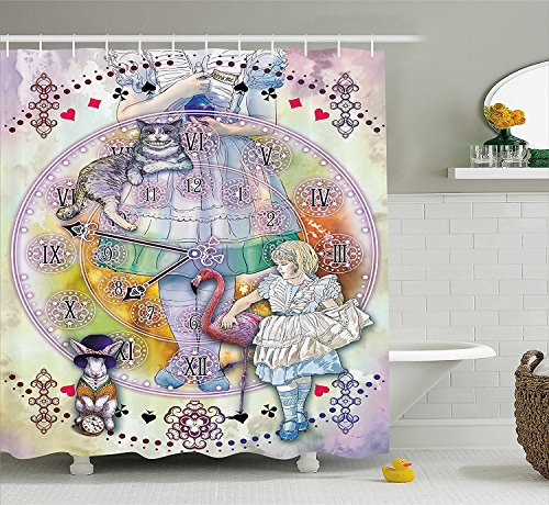 [Alice in Wonderland Decor Shower Curtain Magical FantasyWorld of Adventure Clock Flamingo Cheshire Cat Rabbit Fabric Bathroom Decor Set with Hooks] (Cheshire Cat Halloween Costume Ideas)