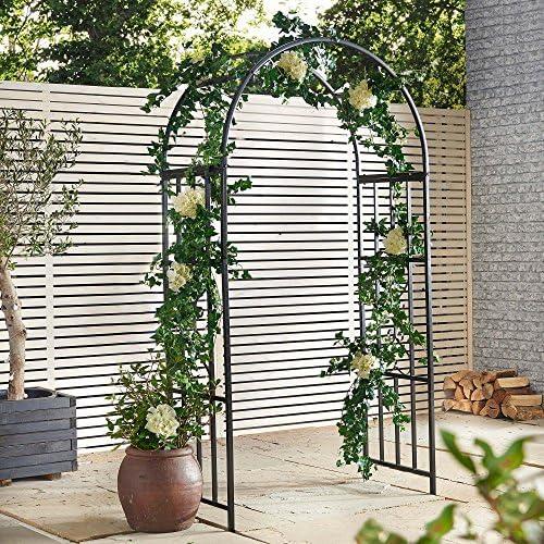Cenador de metal para jardín, diseño de arco para flores, plantas, rosas y más, de VonHaus: Amazon.es: Jardín