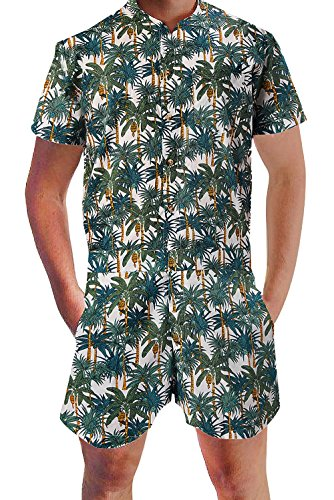 Leapparel Mens Romper Coveralls One-Piece Short Sleeve Jumpsuit Casual Overalls (M, Coconut Tree)